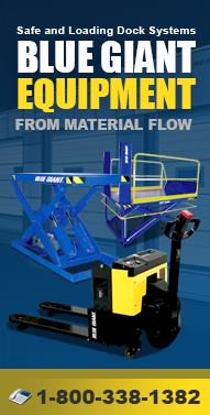Bluegiantequipment.com Hand Pallet Trucks, Electric Pallet Trucks, Manual Push Stackers, Lift Tables, Dock Lifts, Dock Seals and more from Material Flow